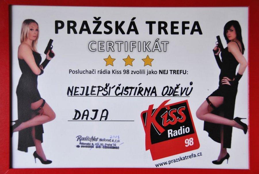 Certifikát - nejlepší čistírna oděvů v Praze